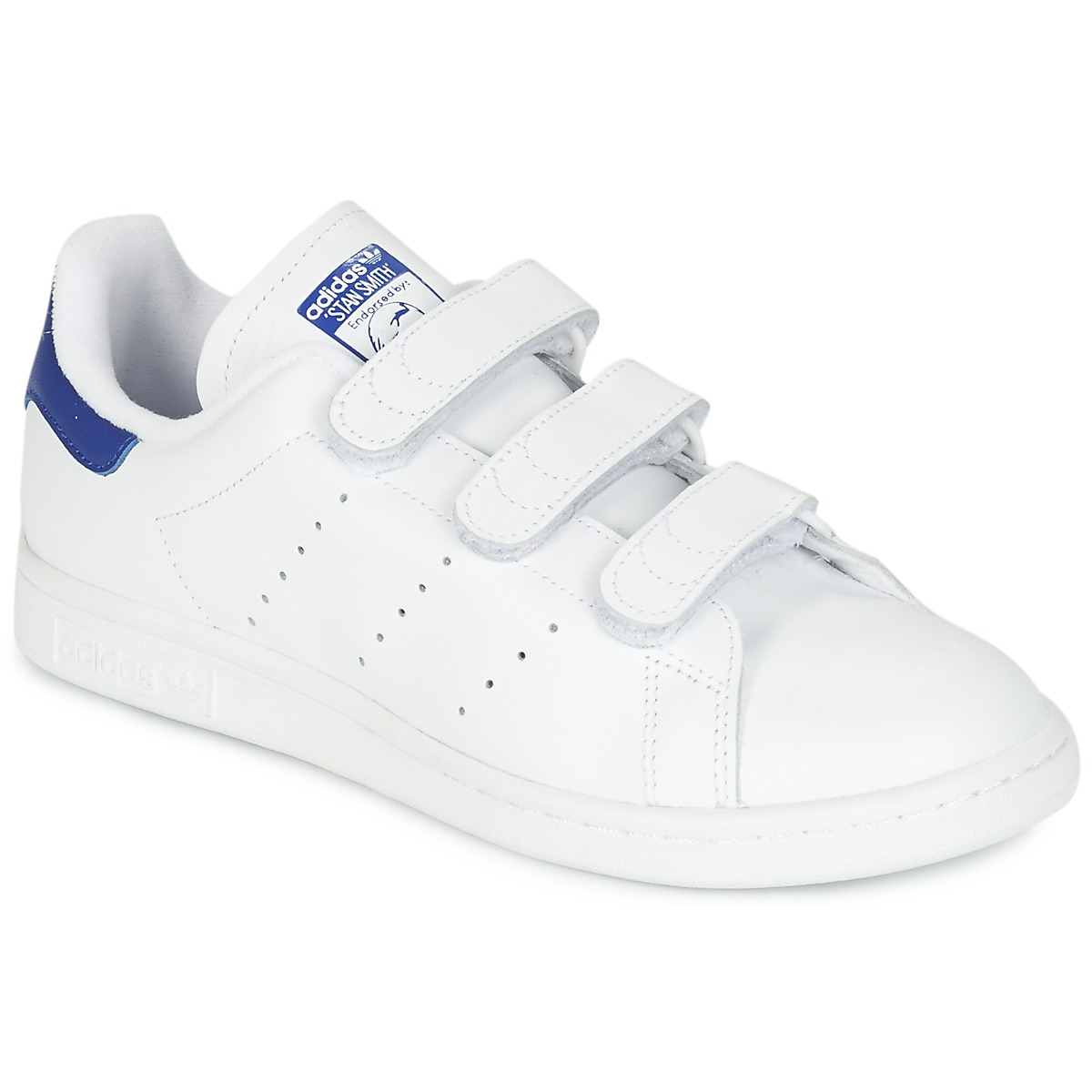 Adidas Originals STAN SMITH CF Blanc / Bleu - Baskets Adidas Spartoo