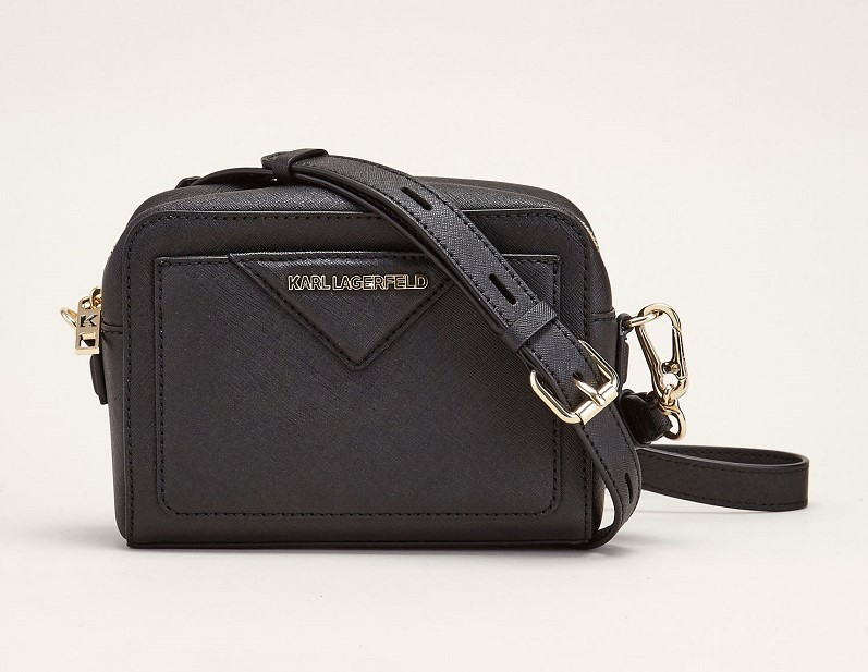 KARL LAGERFELD Petite sacoche carrée et zippée noire - Sacs Monshowroom