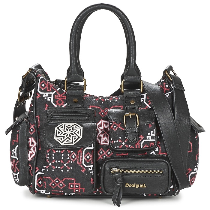 Desigual LONDON MINI PERSIAN Noir / Rouge - Sacs Spartoo