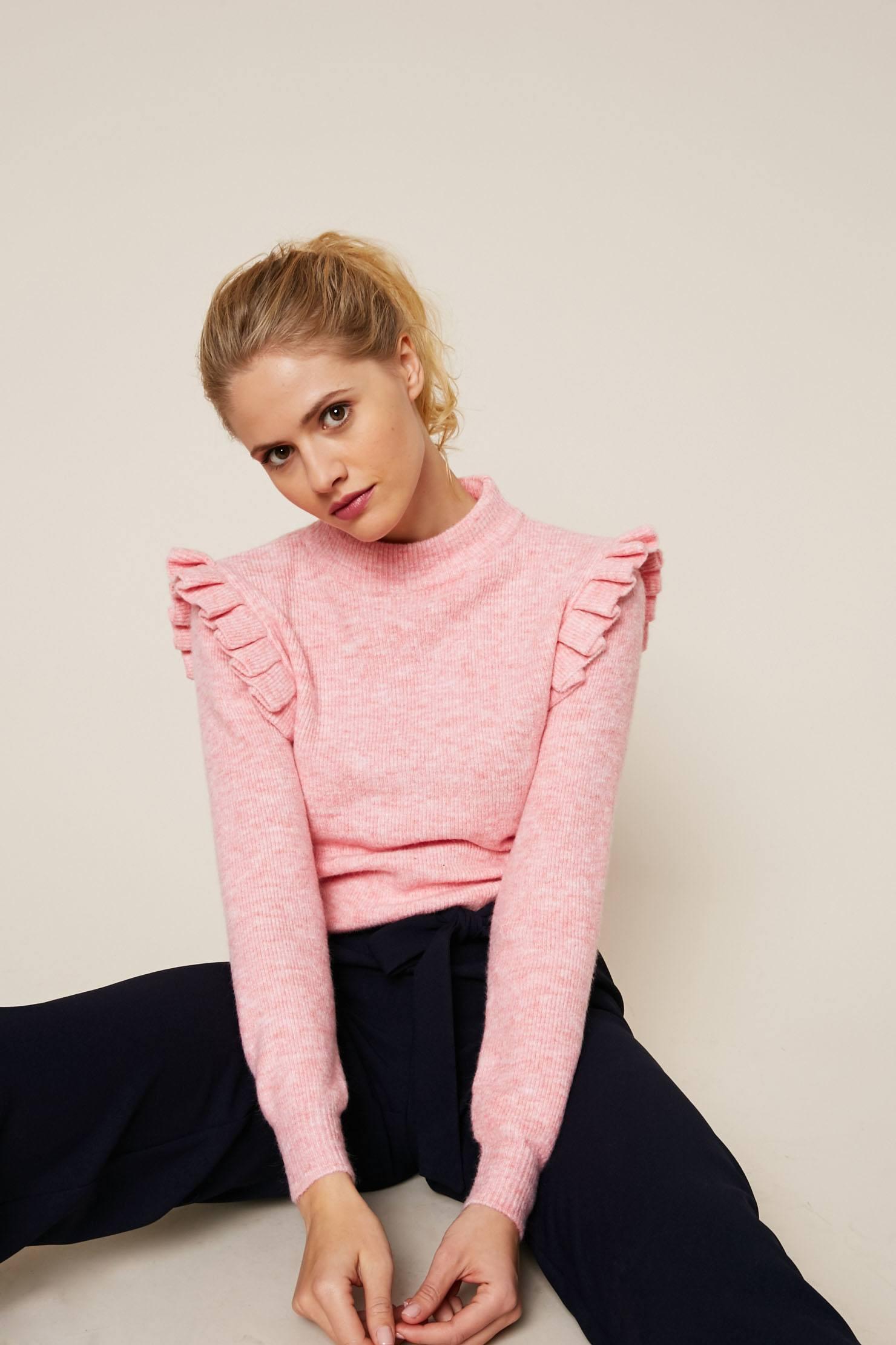 Sweewë Pull à emmanchures plissées rose chiné - Pull Femme Monshowroom