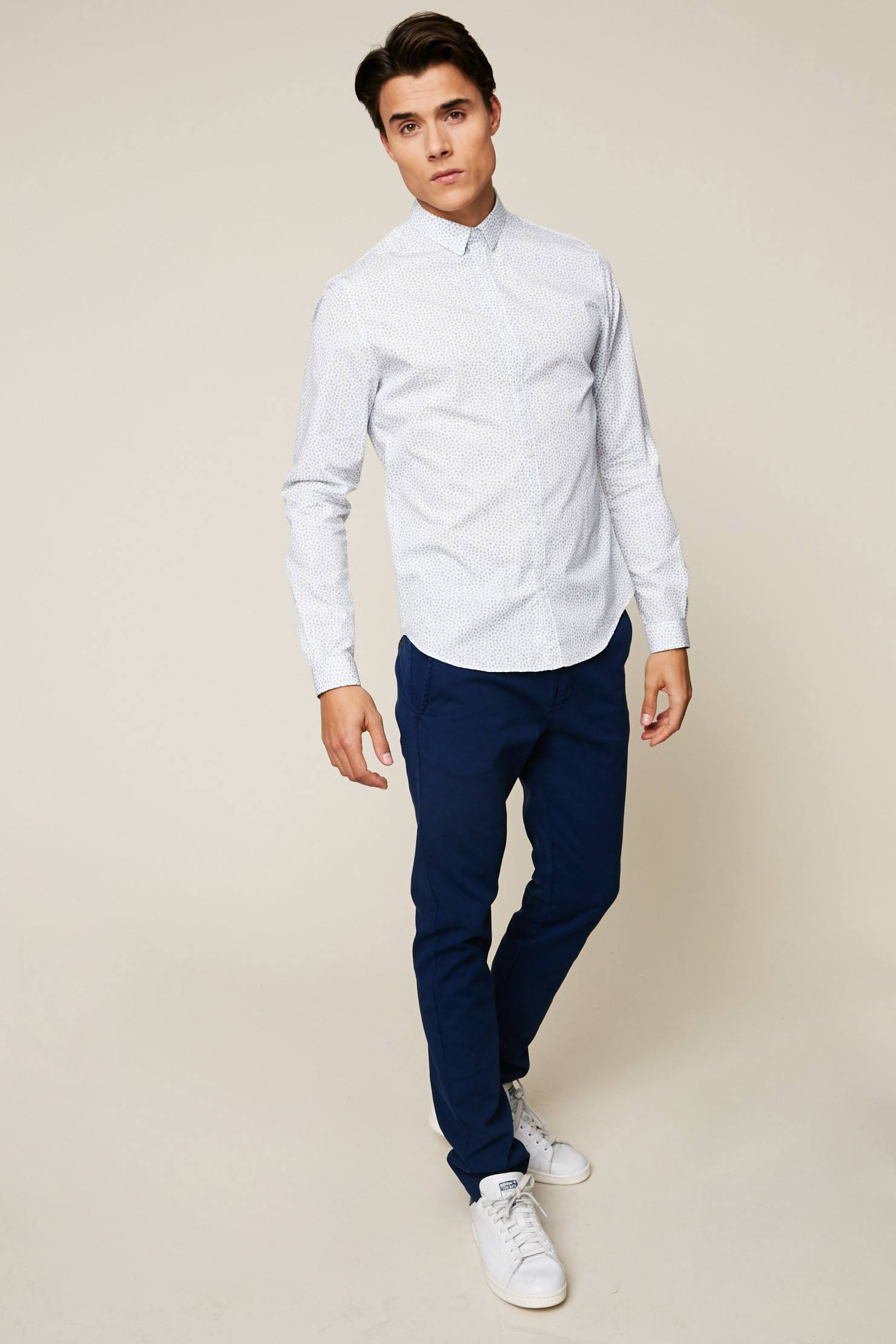 Ikks Men Pantalon en coton piqué marine