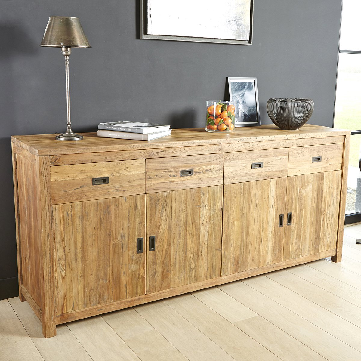 buffet teck recycle gardenandco buffet la redoute. Black Bedroom Furniture Sets. Home Design Ideas