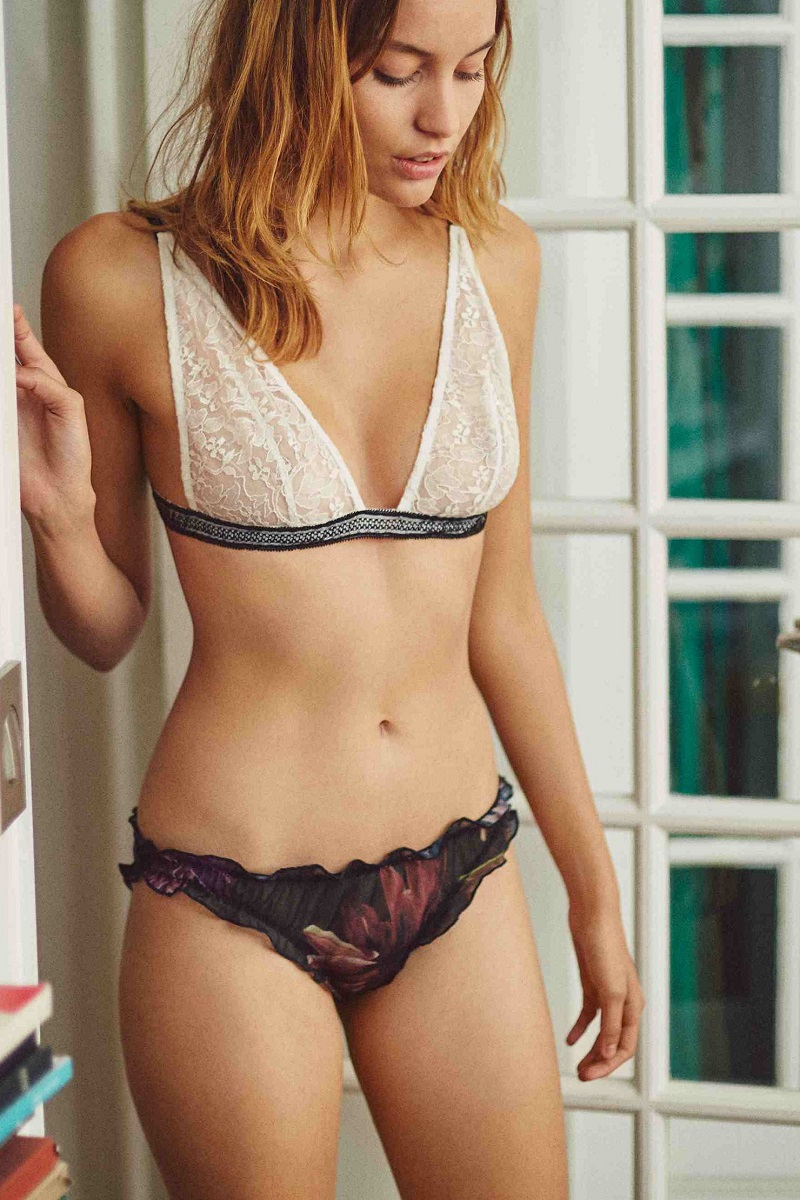 Noo Underwear Triangle Ivory & Black Lace