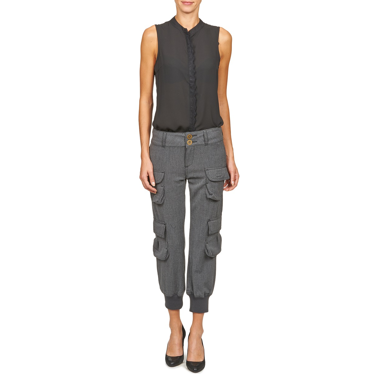 pantalon cargo desigual plantia gris pantalon femme spartoo ventes pas. Black Bedroom Furniture Sets. Home Design Ideas