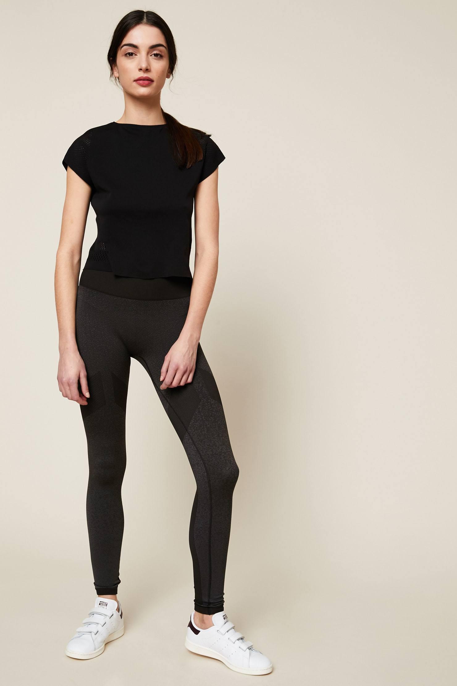Adidas Originals Legging de sport gris chiné empiècements côtelées - Monshowroom