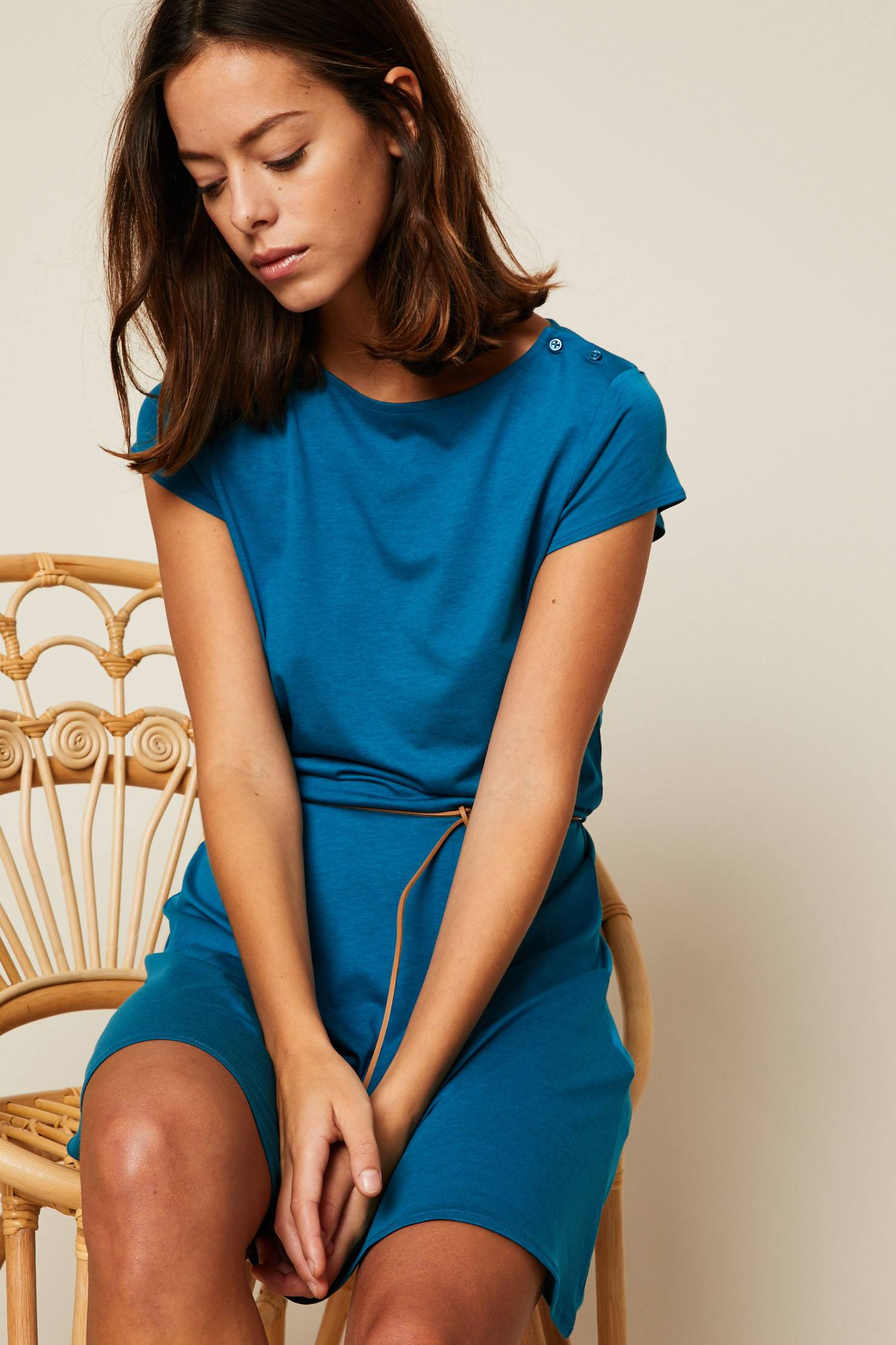 Sessun Salome Robe courte ceinturée bleu - Monshowwroom