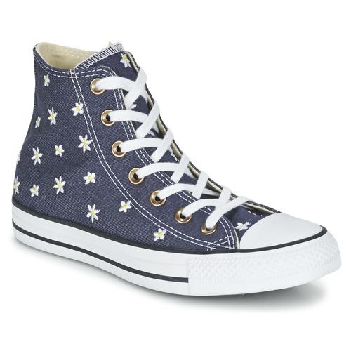 Converse CHUCK TAYLOR ALL STAR DENIM FLORAL HI Marine / Jaune / Blanc