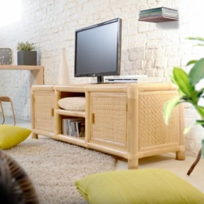 Banc tv 2 portes 2 niches metis tikamoon meuble tv 3 for Banc tv pas cher