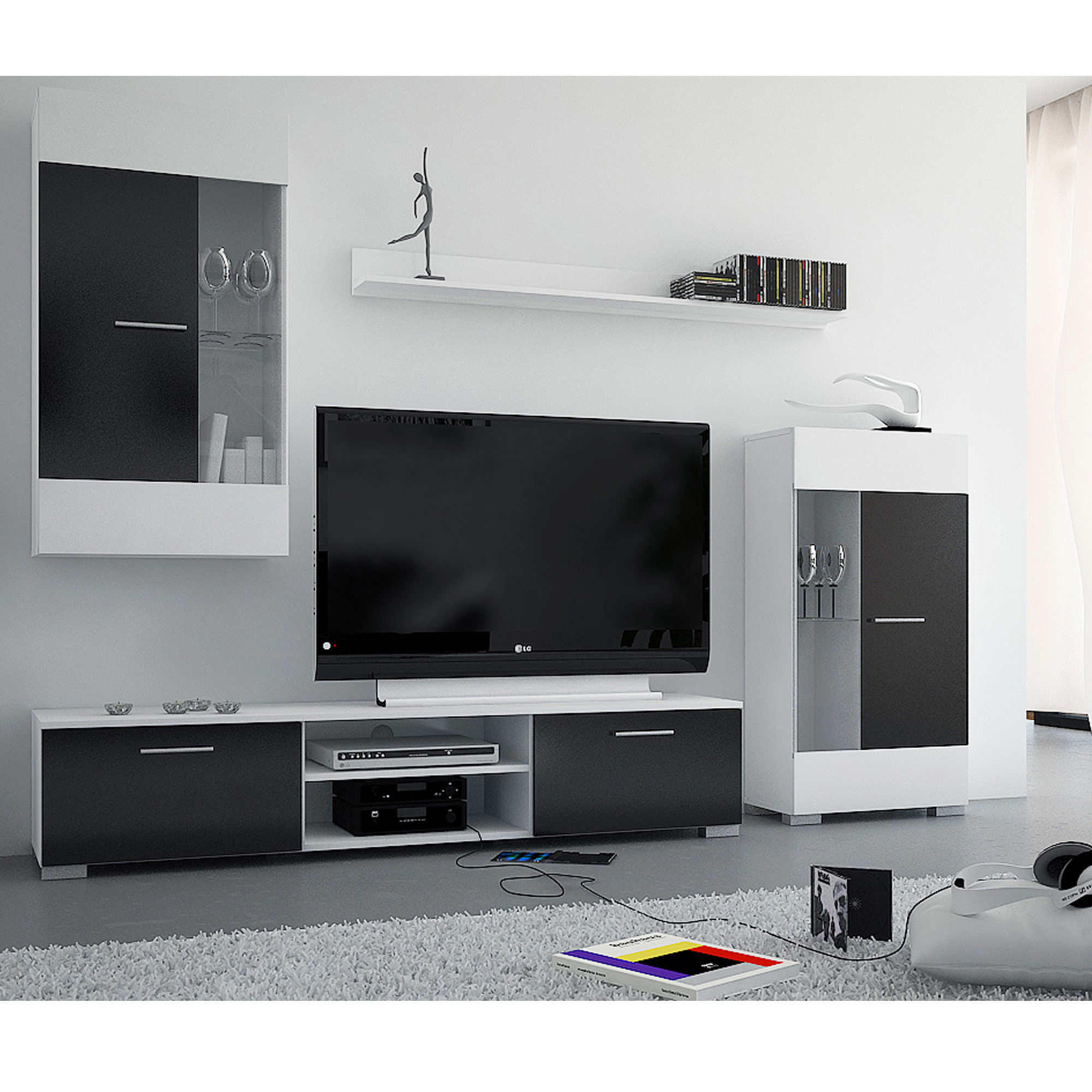 meuble tv laque noir alinea. Black Bedroom Furniture Sets. Home Design Ideas