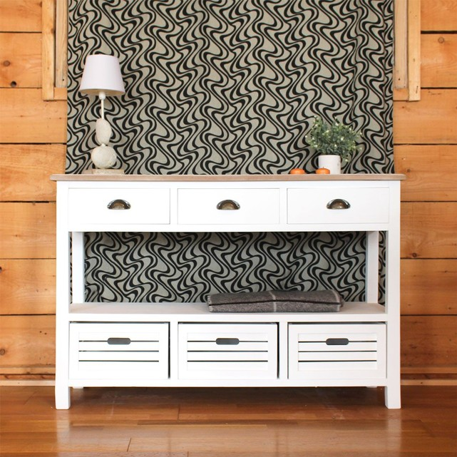 console mdf 6 tiroirs blanche plateau naturel made in meubles console la redoute ventes pas. Black Bedroom Furniture Sets. Home Design Ideas