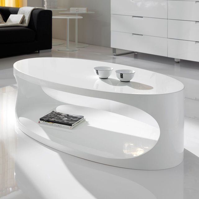 Table basse design ellipse blanc zendart table basse la redoute ventes pas for Table basse design pas cher blanc