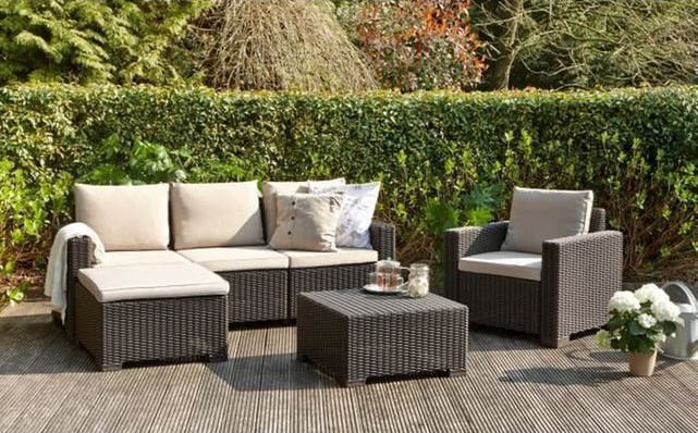 Salon de jardin moorea 4 pieces aspect rotin allibert for Salons de jardin soldes