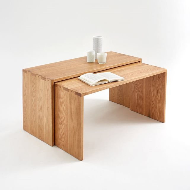 Tables basses gigognes ch ne massif crueso lot ch ne la - Table basse pliante pas cher ...