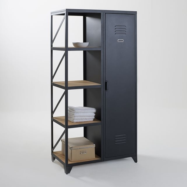 armoire tag re 1 porte m tal et pin huil hiba noir la. Black Bedroom Furniture Sets. Home Design Ideas