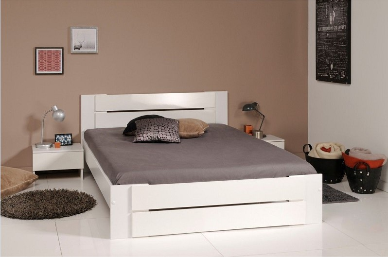 ensemble lit chevets terre de nuit en bois blanc brillant es1013 lit enfant la redoute. Black Bedroom Furniture Sets. Home Design Ideas