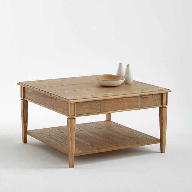 Table basse carr e fr ne massif adelia la redoute - Petite table basse carree ...