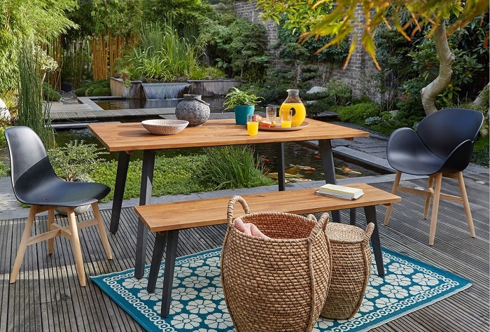 table de jardin acacia fsc hiba la redoute interieurs. Black Bedroom Furniture Sets. Home Design Ideas