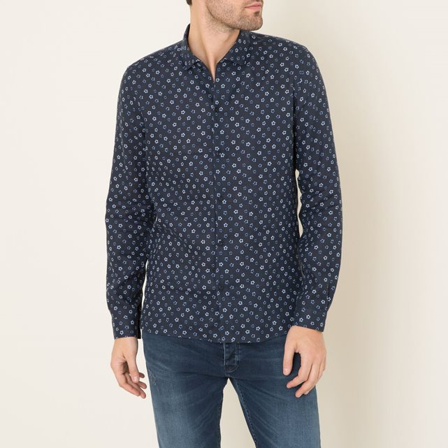 Chemise fitted en lin navy The Kooples - Chemise Homme La Redoute