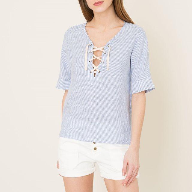 Blouse lin rayée blanc/bleu Hartford - Blouse Femme La Redoute