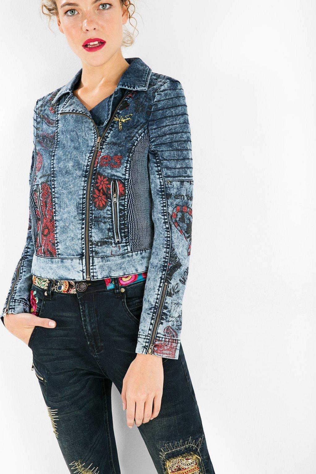 veste en jean imprim moto cors desigual veste en jeans femme desigual ventes pas. Black Bedroom Furniture Sets. Home Design Ideas