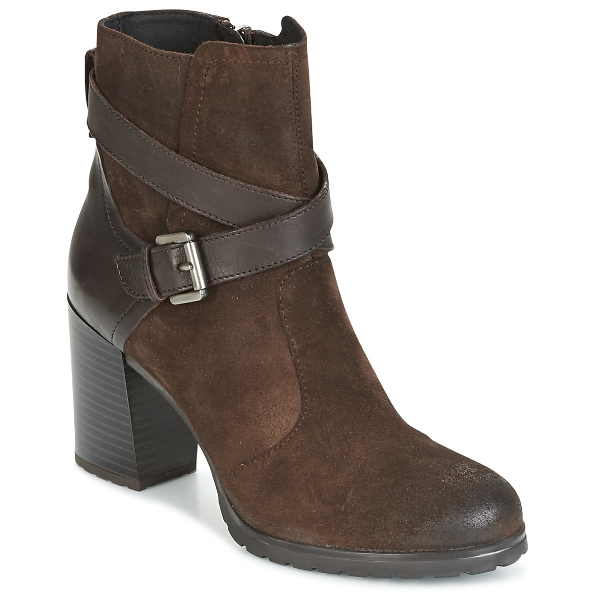 Geox D NEW LISE HIGH Marron Bottines Femme