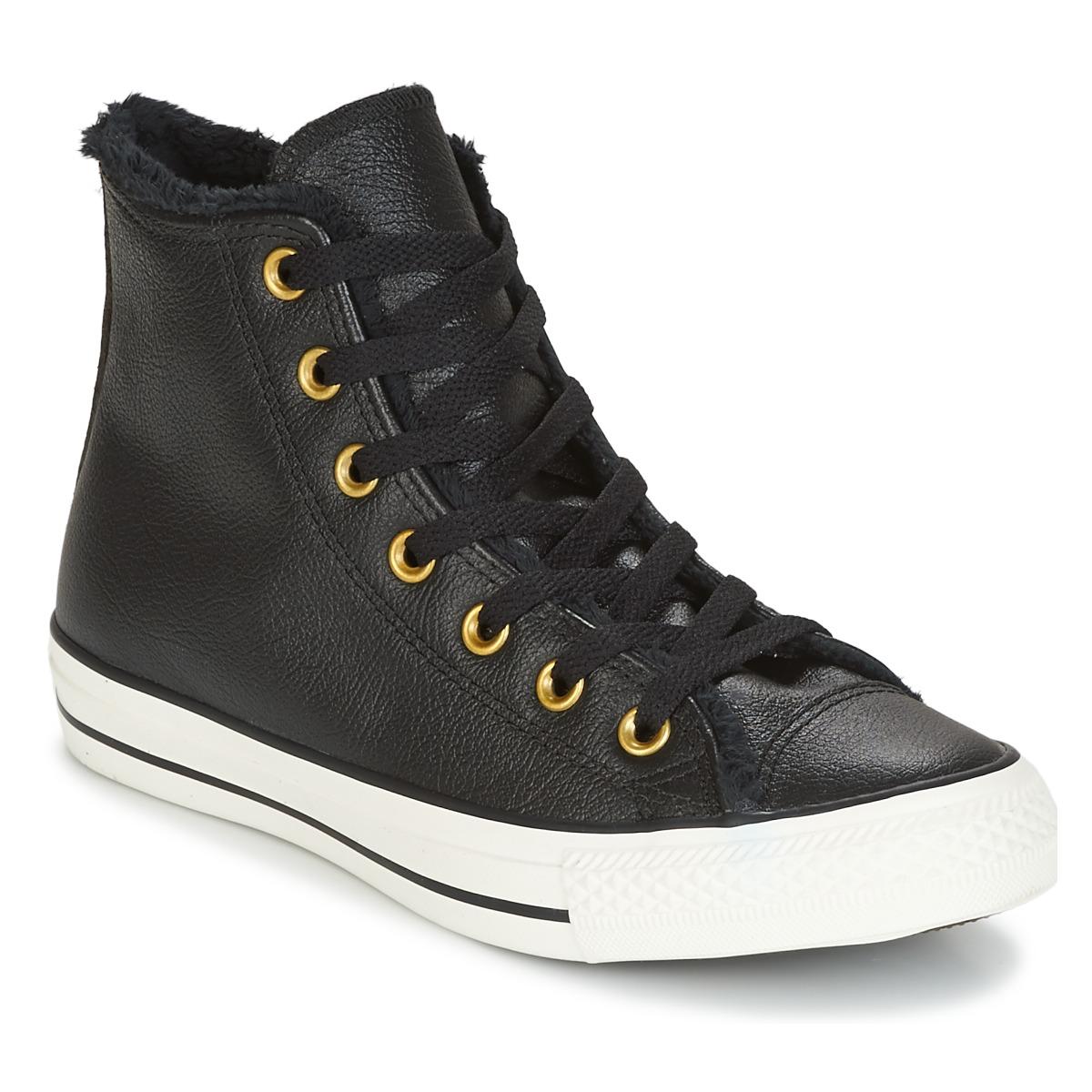 Converse CHUCK TAYLOR ALL STAR LEATHER + FUR HI BLACK/BLACK/EGRET musta - Baskets Femme Spartoo