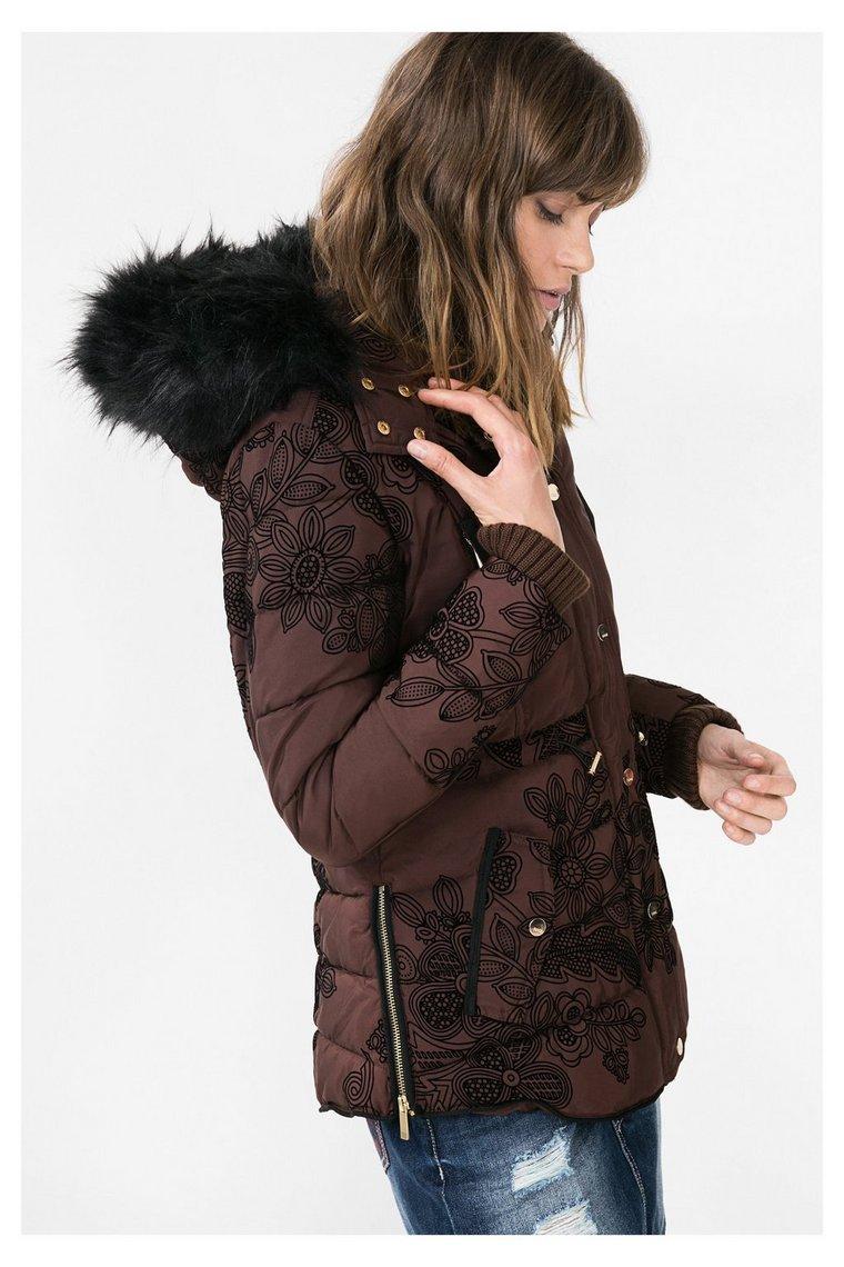 manteau marron capuche ada desigual manteau femme. Black Bedroom Furniture Sets. Home Design Ideas