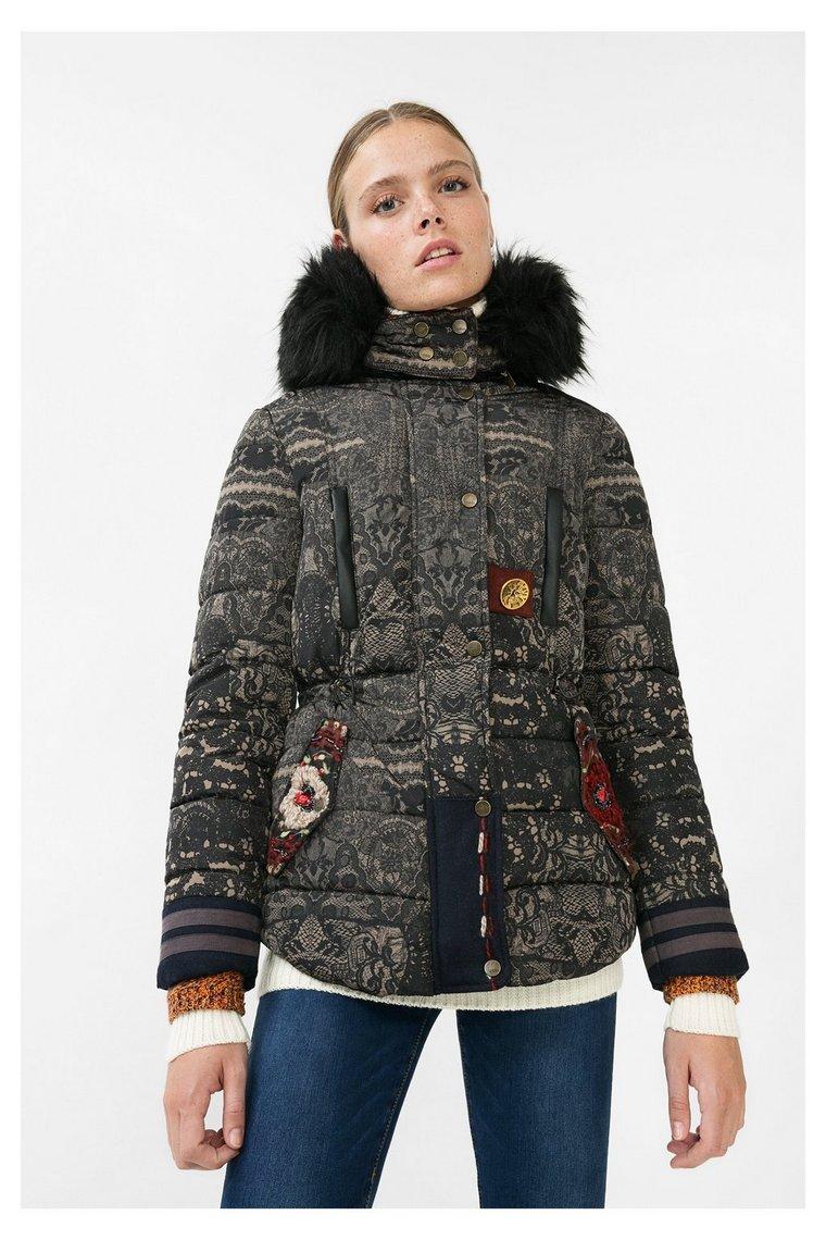 manteau noir matelass badajoz desigual manteau femme desigual ventes pas. Black Bedroom Furniture Sets. Home Design Ideas