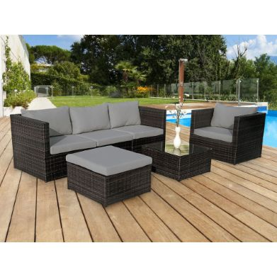 table de jardin aluminium imitation bois. Black Bedroom Furniture Sets. Home Design Ideas