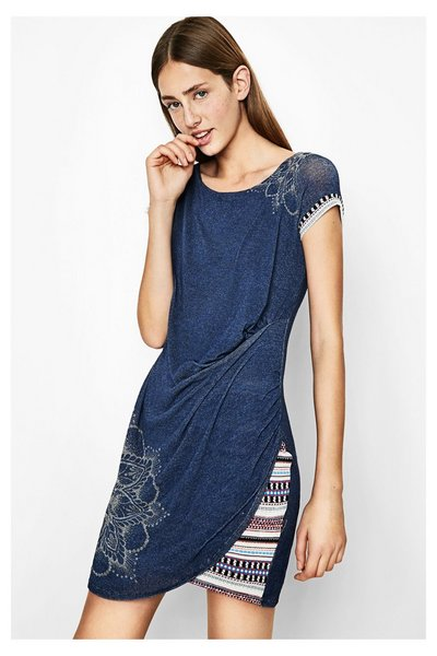 Robe bleue à manches courtes Sami Desigual - Robe Femme Desigual