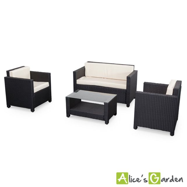 salon de jardin alice s garden en r sine tress e 4 places noir perugia fauteuil canap la. Black Bedroom Furniture Sets. Home Design Ideas