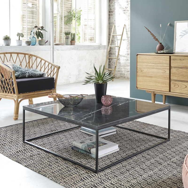 Table basse carrée en marbre noir et métal 100 - Table Basse Bois dessus bois dessous