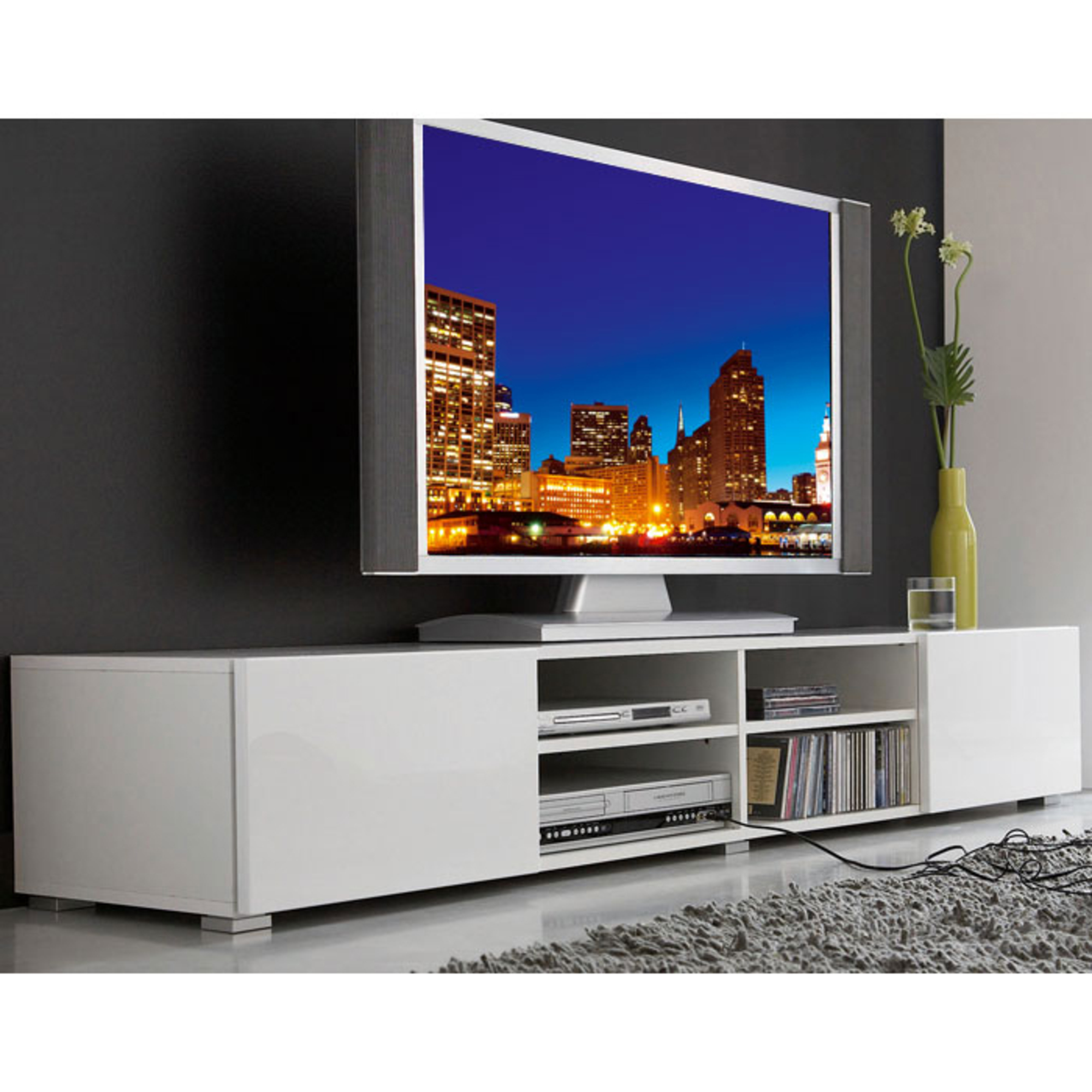 meuble tv la maison de valerie meuble tv 4 niches 2 tiroirs magnus prix 137 99 euros ventes. Black Bedroom Furniture Sets. Home Design Ideas