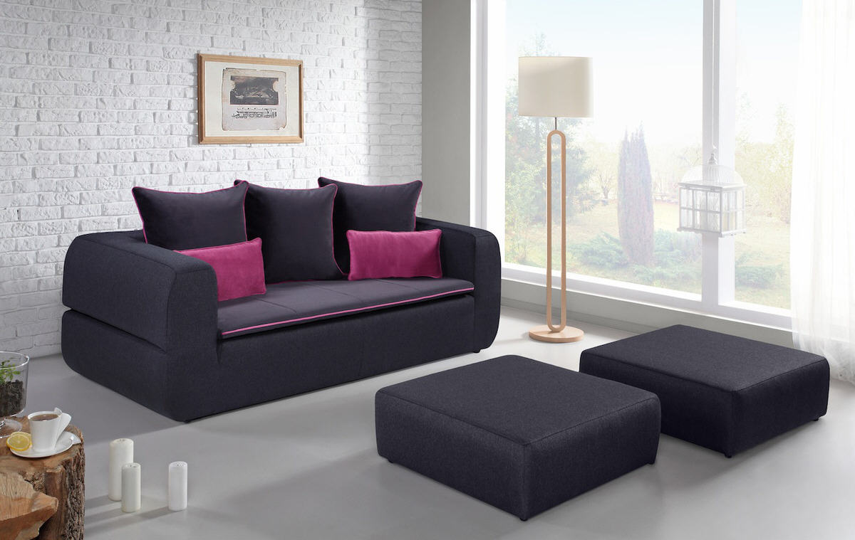 canap convertible 3 places jenny 2 poufs canap pas. Black Bedroom Furniture Sets. Home Design Ideas