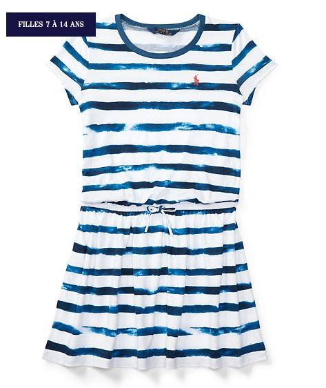Robe t-shirt en jersey rayé Ralph Lauren - Robe Fille Ralph Lauren