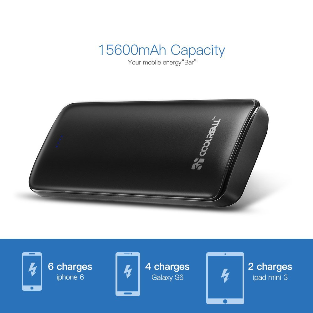 Coolreall 15600mAh Batterie Externe 2 Ports USB