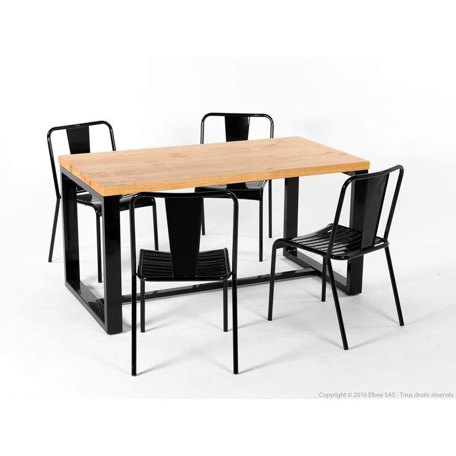 Table manger ian et ses 4 chaises jacob akhal table for Table a manger industriel pas cher