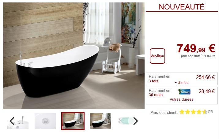 Baignoire Ilot Natalia 1 Place 181l Pas Cher Baignoire Ilot Vente Unique Ventes Pas Cher Com