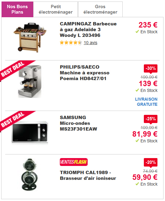 achat gros electromenager pas cher jusqu 39 40 pixmania ventes pas. Black Bedroom Furniture Sets. Home Design Ideas