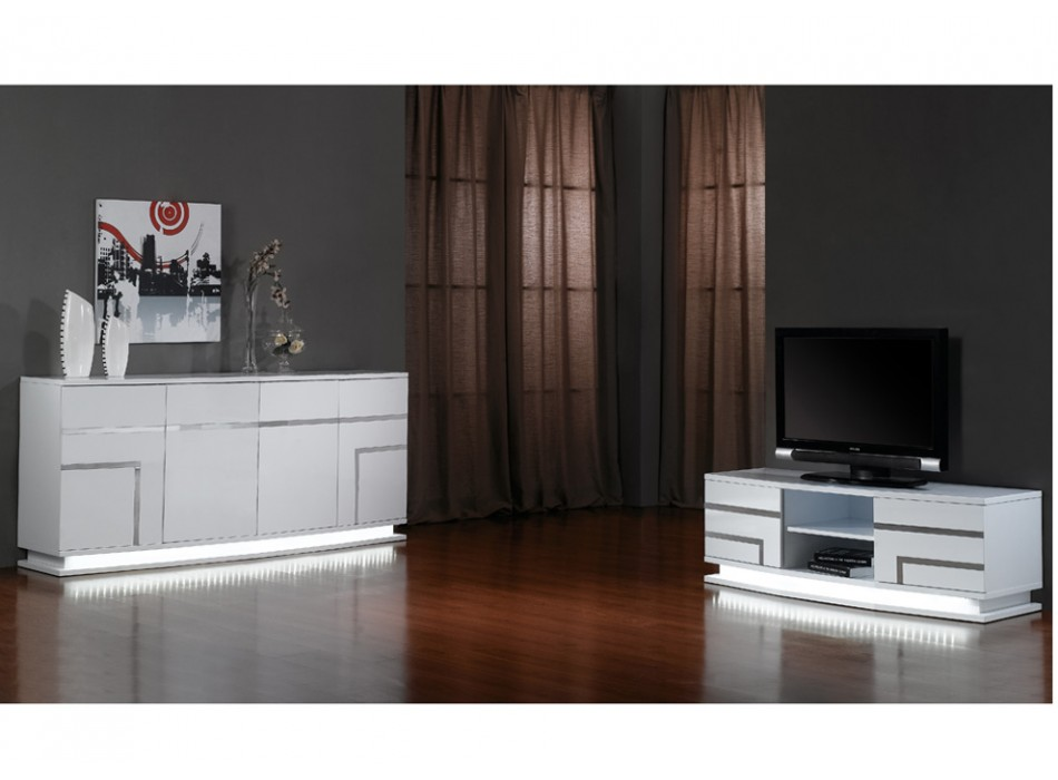 Buffet vente unique promo buffet luminescence prix 499 for Meuble salon noir