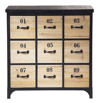 commode vintage industriel bois 9 tiroirs commode privatefloor ventes pas. Black Bedroom Furniture Sets. Home Design Ideas