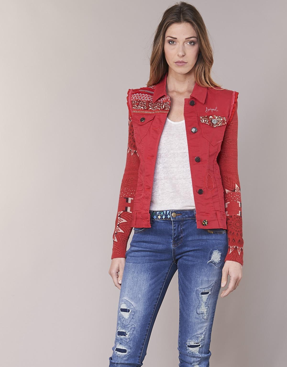 Desigual PALOSHO Rouge Veste en Jean
