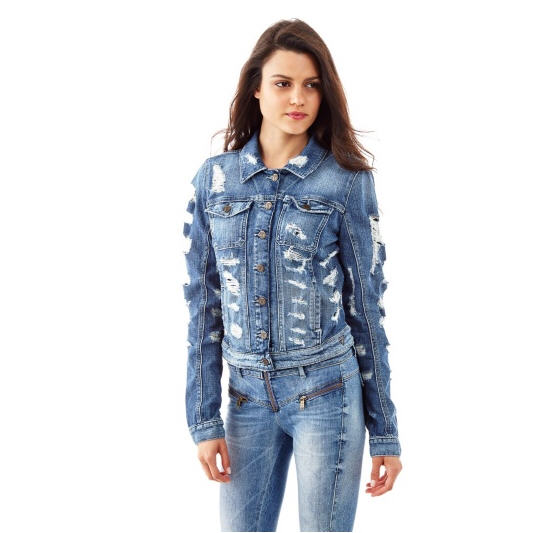 Rtbtpq Jacket En Ventes Femme Destroyed Veste Jeans Denim Guess f15w58q