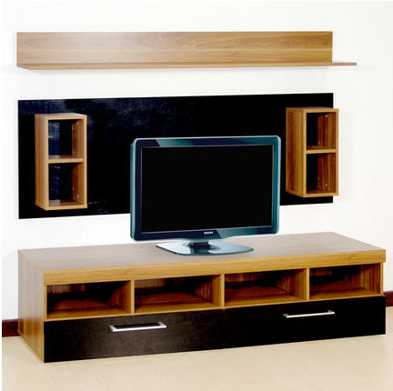 meuble tv la maison de valerie ensemble tv smart h tre et noir brillant ventes pas. Black Bedroom Furniture Sets. Home Design Ideas
