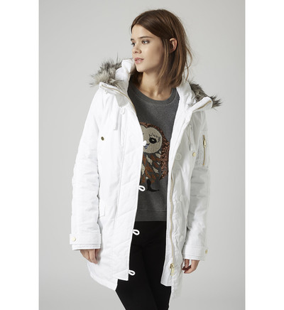 parka style airforce authentique topshop en blanc parka femme galeries lafayette ventes pas. Black Bedroom Furniture Sets. Home Design Ideas