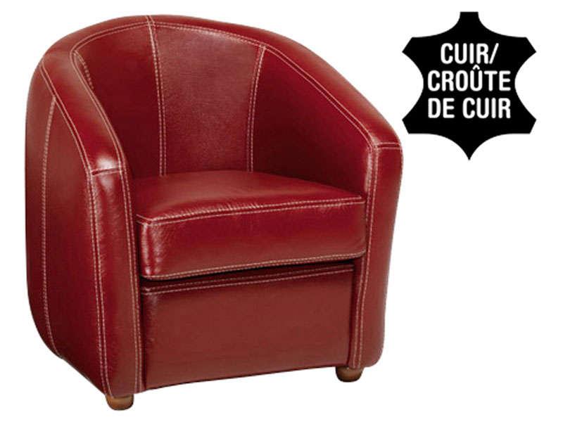 fauteuil cuir ponza coloris rouge