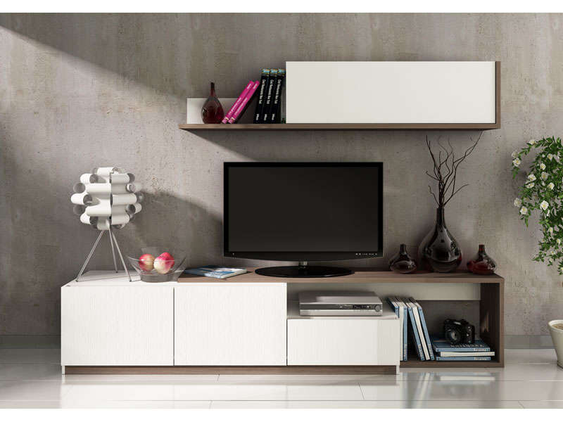 mur tv 3 portes 1 tiroir otawa meuble tv conforama ventes pas. Black Bedroom Furniture Sets. Home Design Ideas