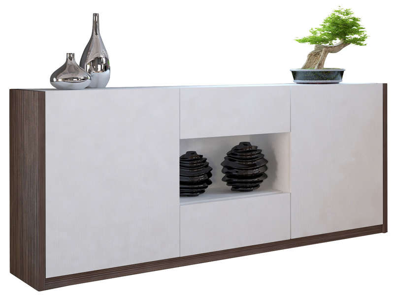 Buffet bas 2 portes 2 tiroirs otawa buffet conforama for Meuble 2 porte conforama