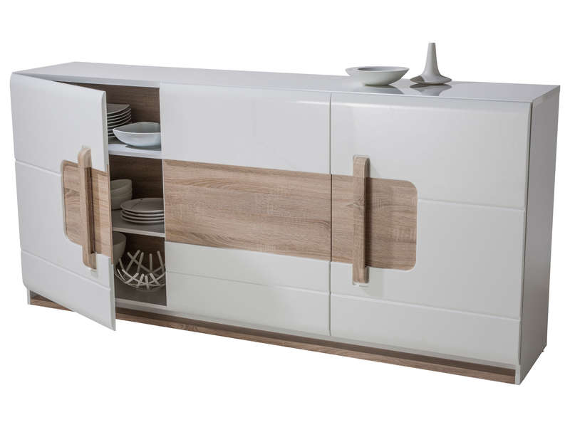 Buffet 3 portes levi coloris blanc buffet conforama pas for Meuble laque blanc conforama