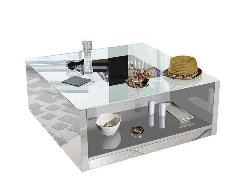 Soldes table basse conforama table basse vertigo laqu for Table blanche conforama